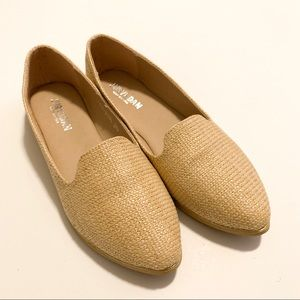 Burlap Style Flats with Gold Detail